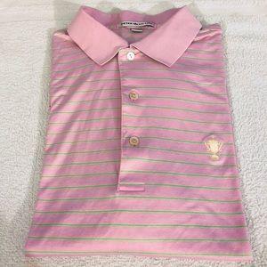 Peter Millar Shirts - Peter Millar Pink w/Lime Green Stripe Polo Shirt M